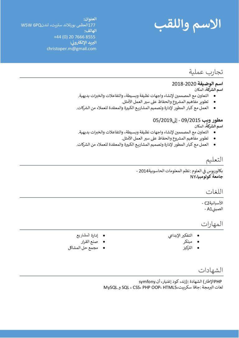 نموذج سيرة ذاتية احترافي باللغة العربية